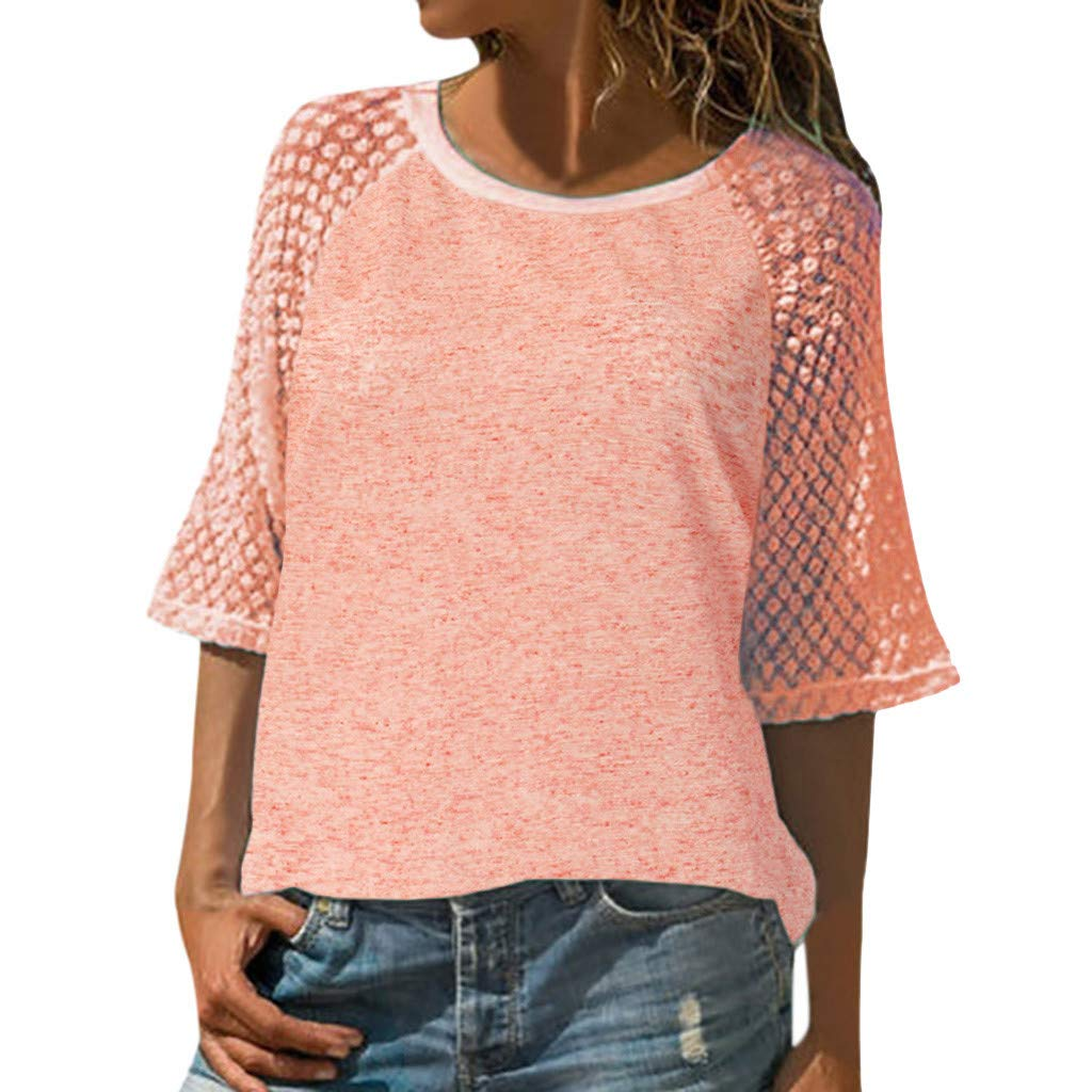 Lace Stitching Short-Sleeved Round Neck T-Shirt top Women's Casual Summer Loose Large Size Shirt MEEYA Pink