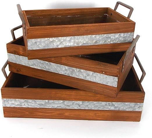 Cajas de madera caja de maceta de jardín maceta de flores estilo Retro decoración del hogar caja de almacenamiento: Amazon.es: Jardín