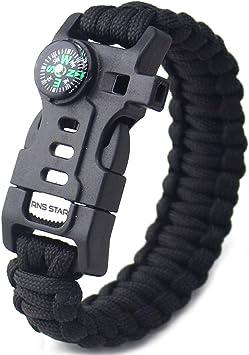 5 in1 Paracord Bracelet Survival Compass Flint Fire Starter Whistle Gear Useful