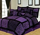 Super King Comforter Sets for Sale Anissa Collection Luxurious 11-Piece Micro Suede Soft Comforter Set & Bed Sheets Limited-Time SALE!! (Purple Safari, King)