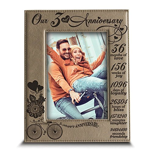 Bella Busta- 3 Years of marriage - Years,Months, Weeks, Days, Hours, Minutes, Seconds- Engraved Leather Picture Frame (4