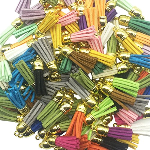 (100 Pieces 40mm Leather Tassel - HYHP Pendant Faux Suede Tassel with Caps for Key Chain Cellphone Straps Making (Assorted Colors, Shipped Randomly))
