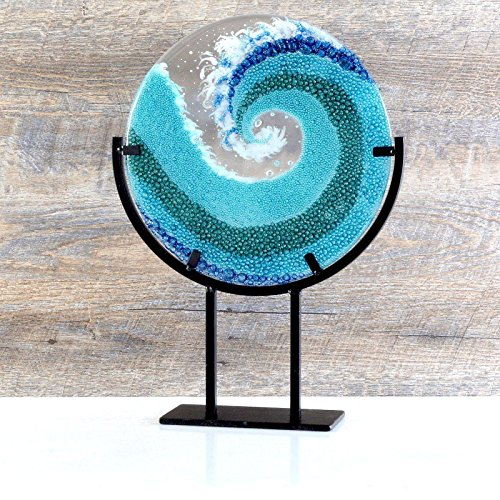 (Crashing Ocean Wave Glass Art Sculpture with Stand 16 Inch)