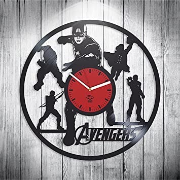 The Avengers Clock, Capitan America Heroes, Vinyl Record Clock, Kovides Vinyl Wall Clock, Home Decor, Comics Marvel DC Movie, Valentines Day Gift, Silent Mechanism, Wall Sticker, Wall Art