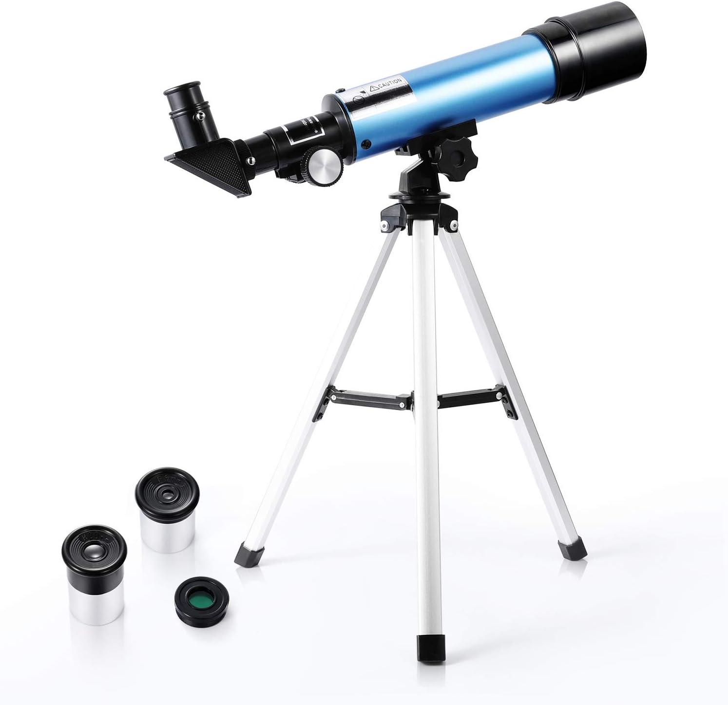Telescopio Astronómico para Niños 90X HD Refractor de Ciencia Educativa con Trípode para Niños Principiantes – Uverbon