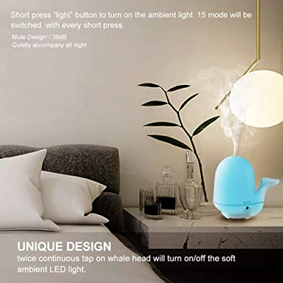 adrim Essential Oil Diffuser Tap-Tap LED Lights Ultrasonic Humidifier Aromatherapy Cool Mist Diffuser