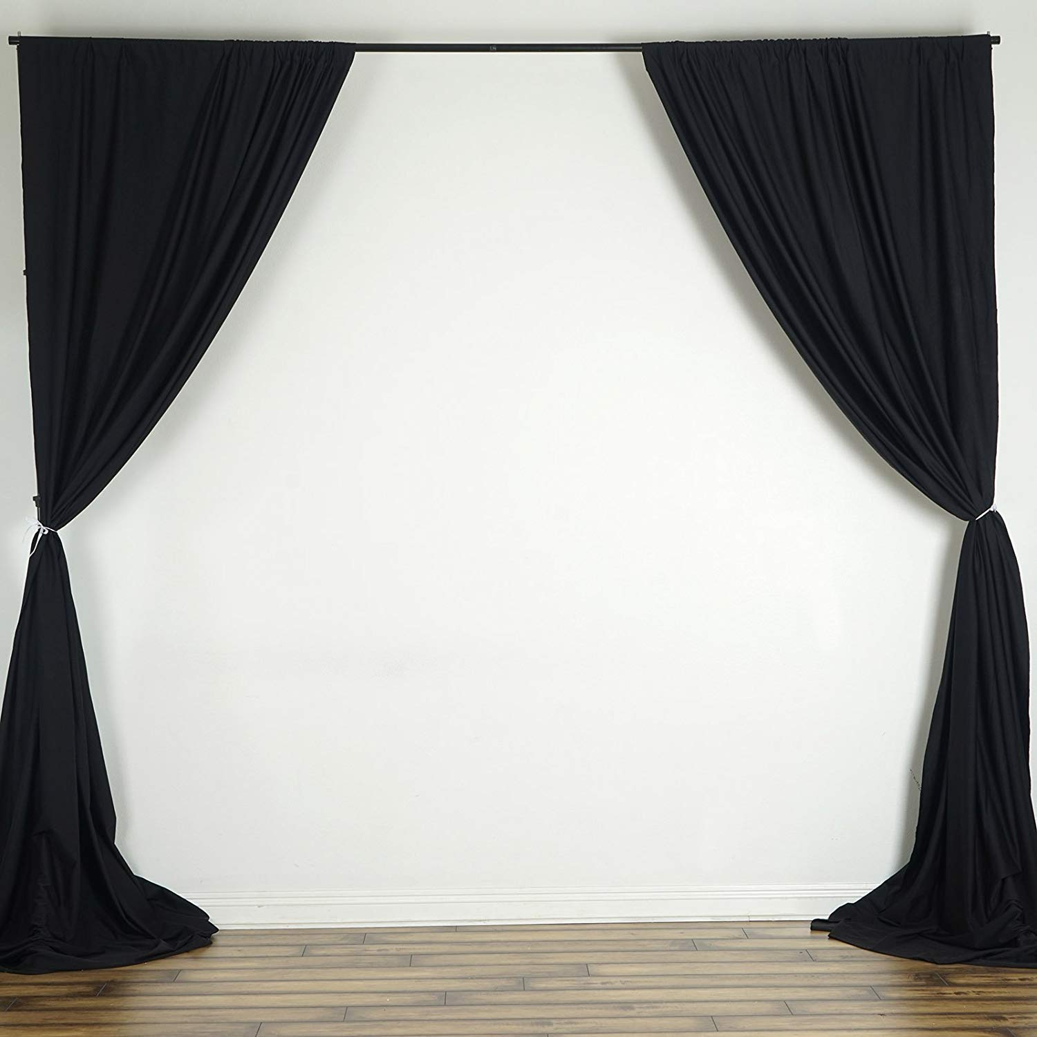 AK TRADING CO. 10 feet x 10 feet Polyester Backdrop Drapes Curtains Panels with Rod Pockets - Wedding Ceremony Party Home Window Decorations - Black by AK TRADING CO.