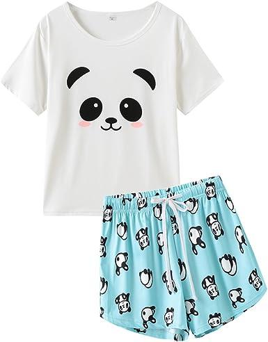 MyFav Conjunto de pijama para mujer, diseño de panda