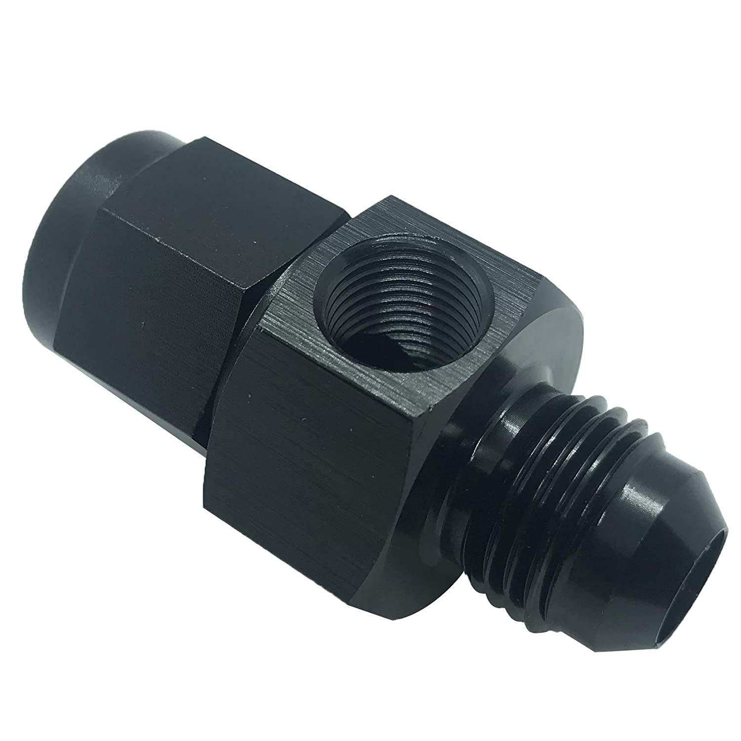 6 AN Male Flare Union Coupler Fitting Black Aluminum -6 AN Male Flare To 2
