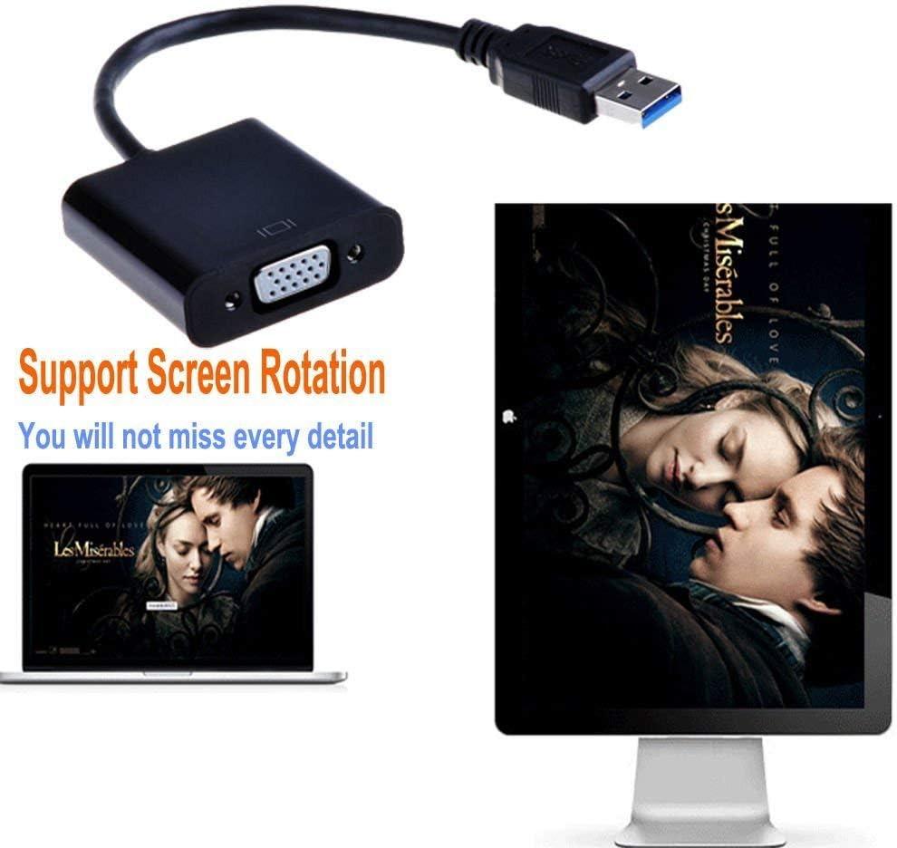 che supporta la piena uscita video HD 1920x1080 display LCD SLKIJDHFB VGA USB 3.0 convertitore nero USB esterna ad alta velocit/à 3.0 scheda grafica proiettore