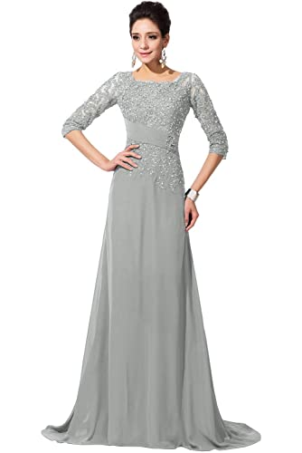 Fnina Women's Long Mother of Bride Dresses with Sleeves Formal Gown M028