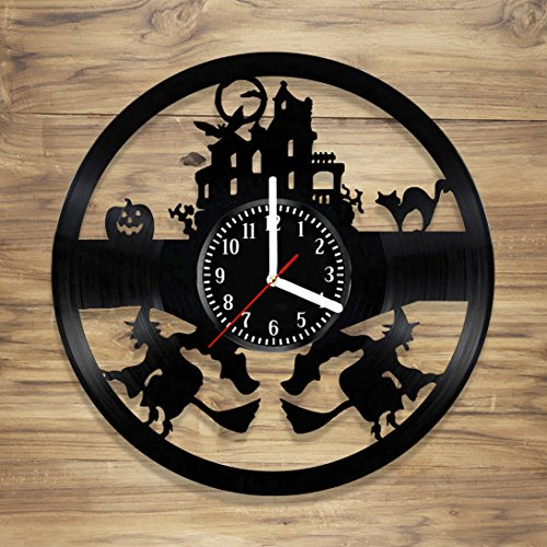 DecorArt Studio Halloween Vinyl Wall Clock vinyl clock design Witch Horror Perfect gift Art Decorate Home Style UNIQUE GIFT idea for Him Her (12 inches) ()