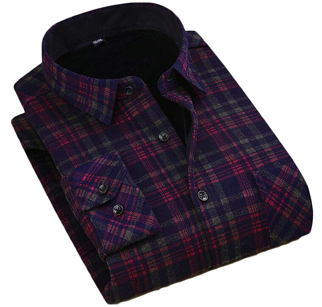 Etecredpow Mens Slim Fit Button Front Fleece Lined Printed Long Sleeve Shirts