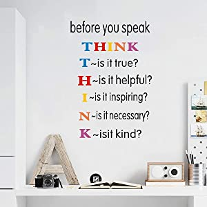 TOARTi Colorful Inspirational Quotes Wall Decals, Before You Speak Think Lettering Wall Stickers, Motivational Positive Saying Vinyl Wall Art for Kids Room Classroom Decor