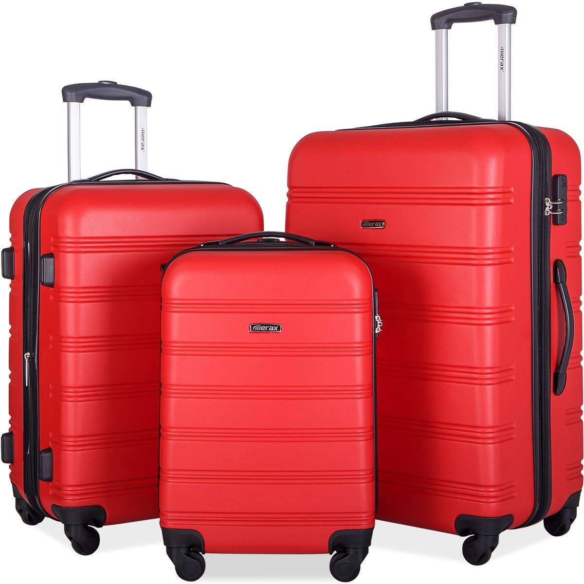 Merax Mellowdy 3 Piece Set Spinner Luggage Expandable Travel Suitcase 20 24 28 inch (Skyblue)