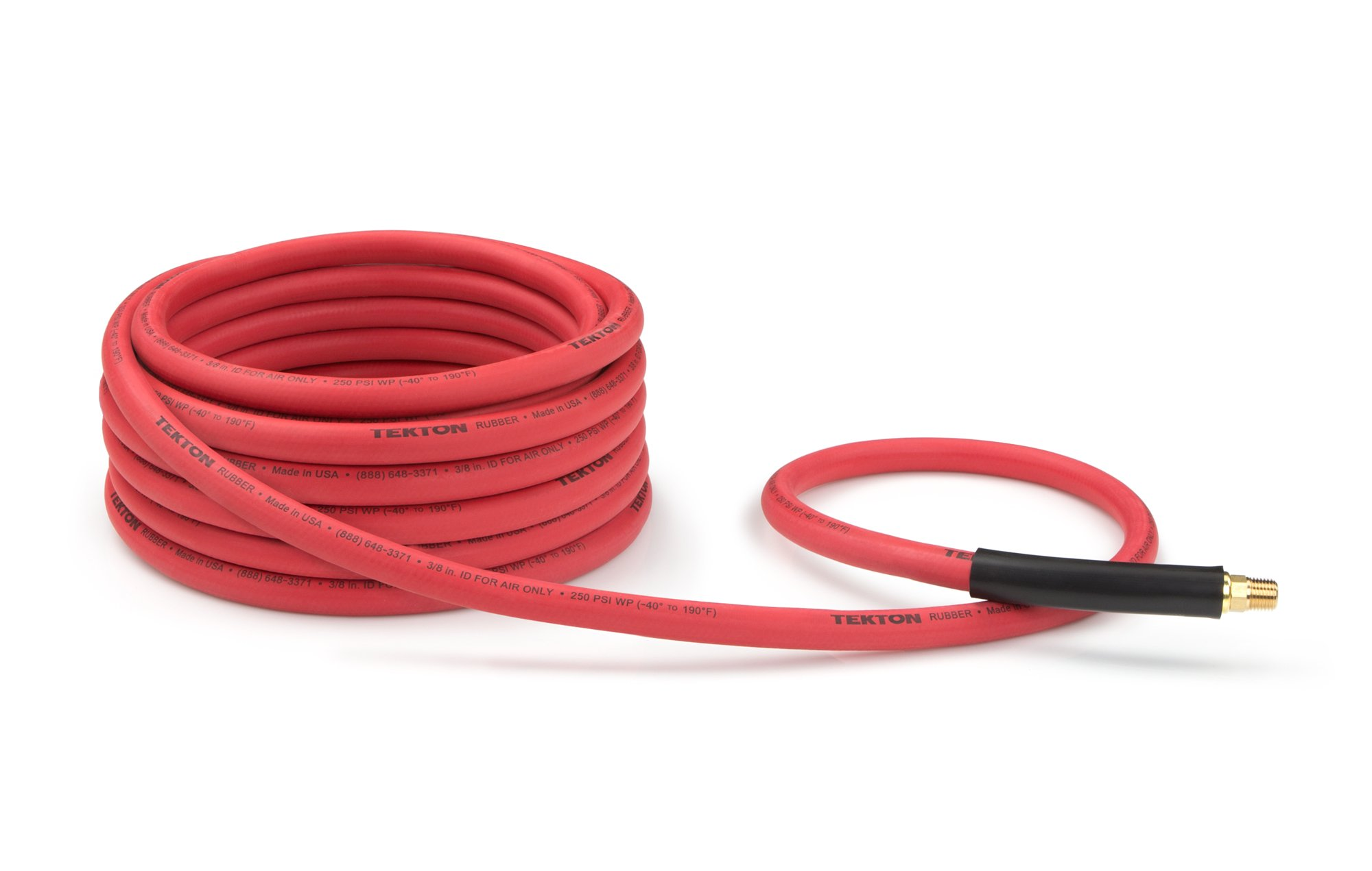 TEKTON 46335 3/8-Inch I.D. by 25-Foot 250 PSI Rubber Air Hose with 1/4-Inch MPT Ends and Bend Restrictors by TEKTON