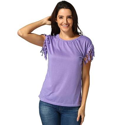76a63d104 Amazon.com  Snowfoller Women Sexy Tassel Design Short Sleeve Tee ...