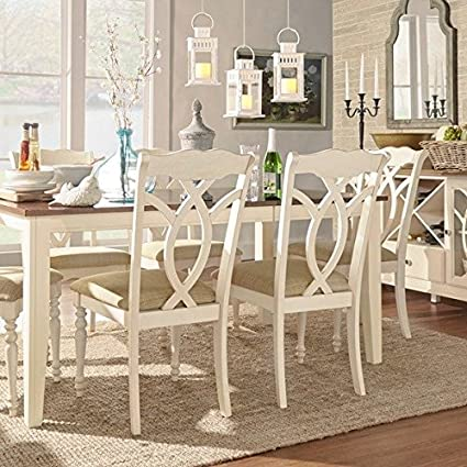 TRIBECCA HOME Shayne Country Antique White Beige Side Chairs ( Set of 2) - Amazon.com - TRIBECCA HOME Shayne Country Antique White Beige Side