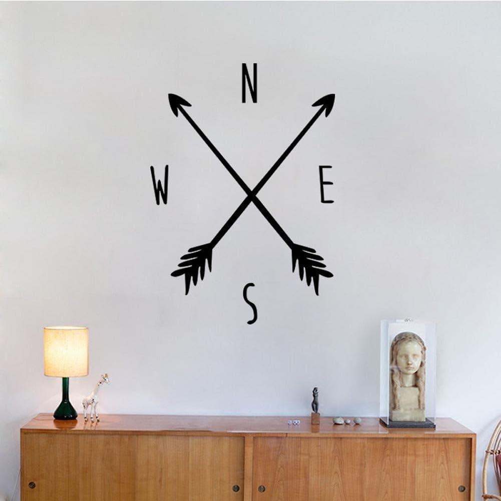 "BIBITIME Black Arrows Compass Wall Decals Tribal Nautical Navigate Ship Ocean Sea Wall Vinyl Decal Stickers Home Decor Bedroom Murals,DIY 22.83"" x 31.88"""
