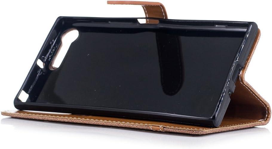 Sony Xperia X1 Funda SATURCASE Estilo Jeans Premium Mezclilla y Cuero De La PU Magn/ético Billetera Ranuras Apoyo Bumper Protector Funda Carcasa Case con Correa de Mano para Sony Xperia X1 Azul