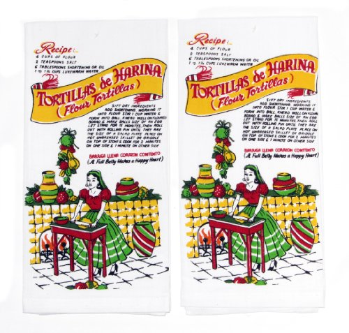 Mexican Tortilla Recipe Kitchen Towels by Red and White Kitchen, Set of 2 (Tortillas Flour Recipe)