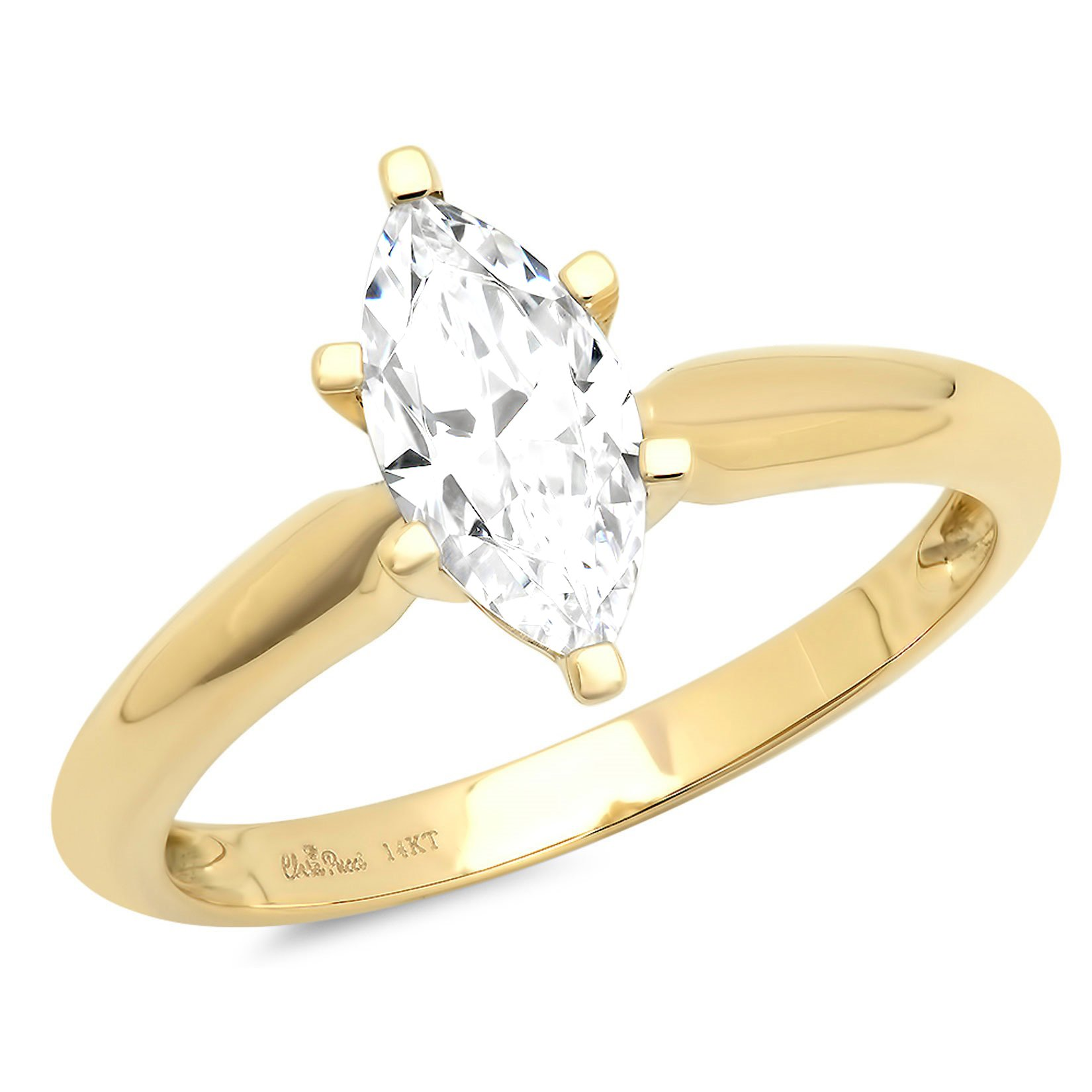 Clara Pucci 1.6ct Marquise Brilliant Cut Simulated Diamond Classic Solitaire Designer Statement Ring Solid 14k Yellow Gold for Women, 10