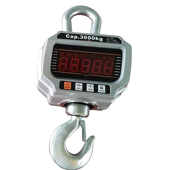 3000 kg/1 kg Báscula electrónica para Grúa grúa Balanza colgante gancho Crane Escala - Báscula digital con pantalla LED y mando a distancia, ...