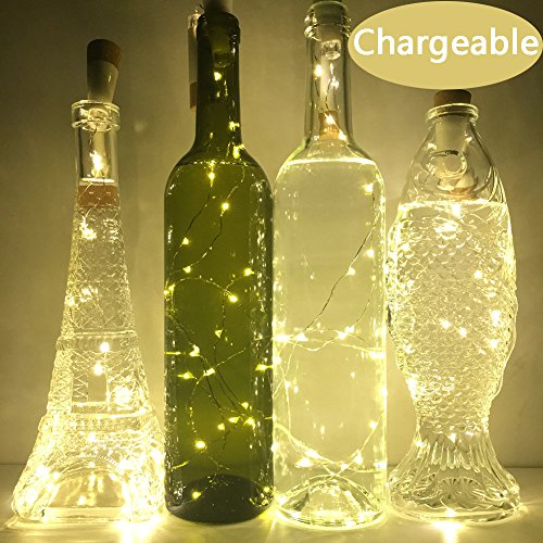 Wine Cork Lights, NeoJoy Rechargeable Bottle Fairy String Lights with 15 LED for DIY Artificial Parties Centerpiece Bedroom Decoration Gift (Warm White, 4PCS) (Idee Per Party Di Halloween)