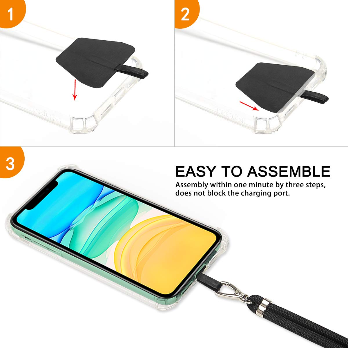 Universal Phone Lanyard for Smartphone iPhone 8,7 6S iPhone 6S Plus,Samsung Galaxy Google Pixel Gray Mobile Tether with Detachable Nylon Neckstrap Takyu Cell Phone Lanyard