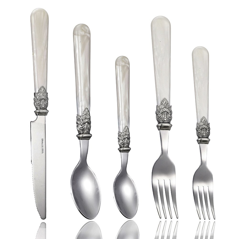 lanpa Flatwareステンレススチールカトラリーセットパールハンドル食器類、ナイフ、フォーク、テーブルスプーン、ティースプーン ホワイト B071K5H4SZ 1