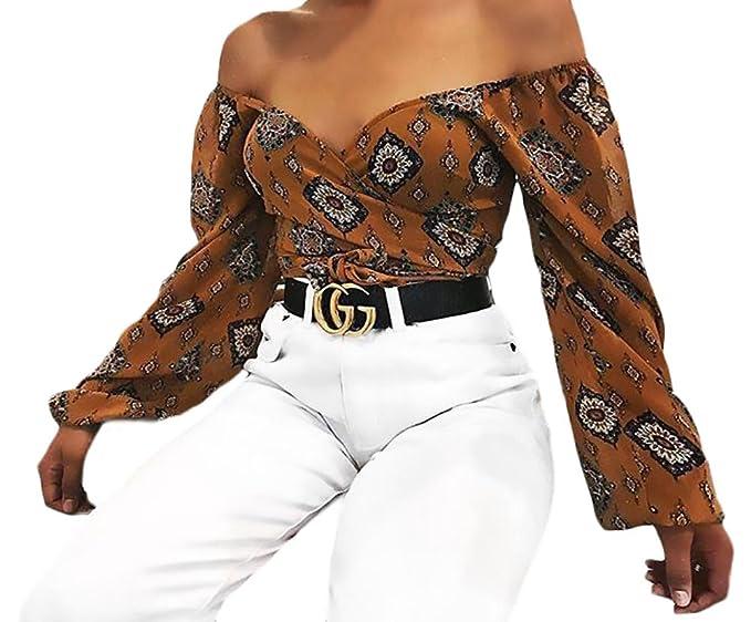 Crop Tops Mujer Elegantes Vintage Flores Estampado Camisas Manga Larga V Cuello Slim Casual Ropa Modernas Moda Fiesta Fashion Blusas Camiseta Primavera ...