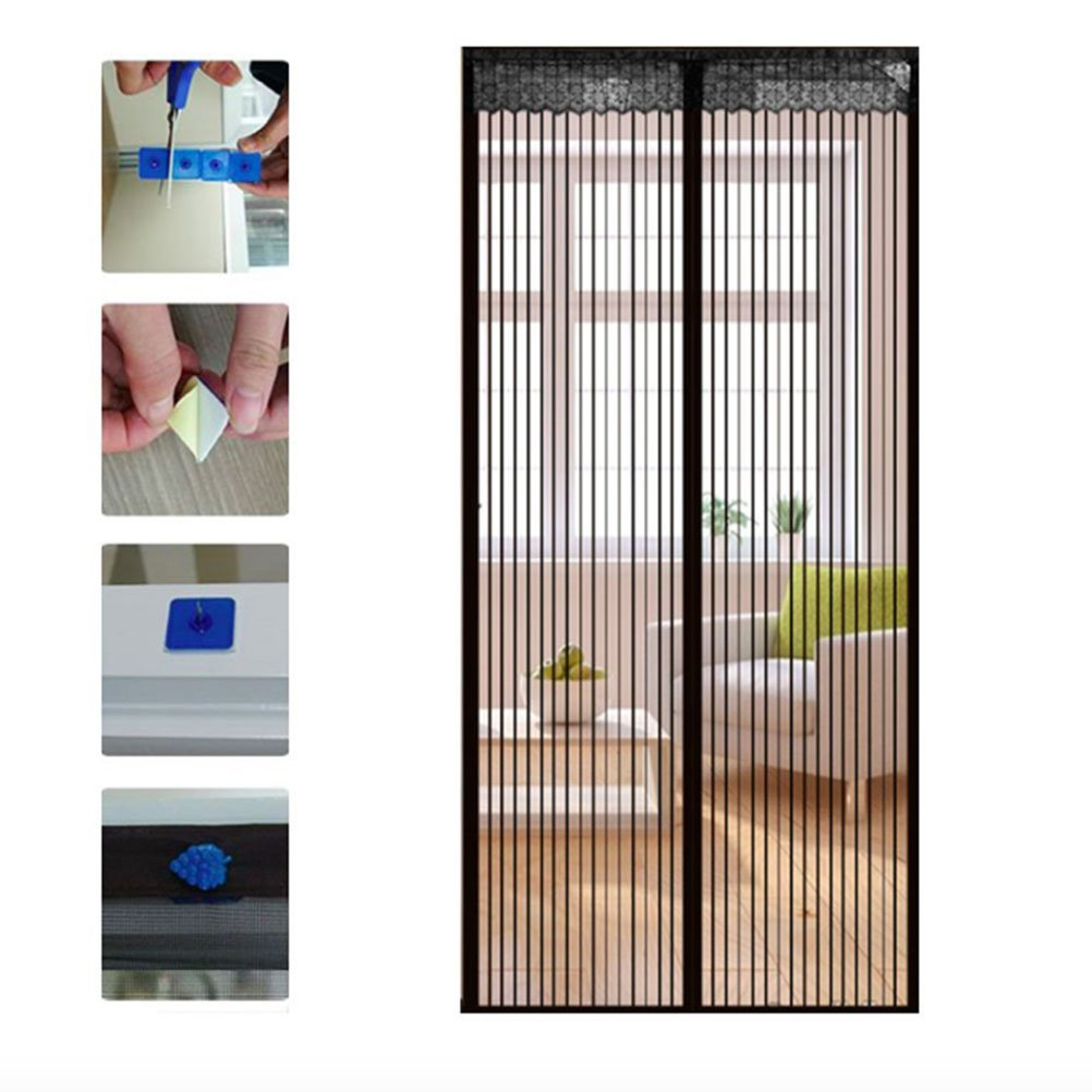 WINOMO 90210cm Magnetic Mesh Screen Door Self-closing Curtain for Household Anti-insects (Black)