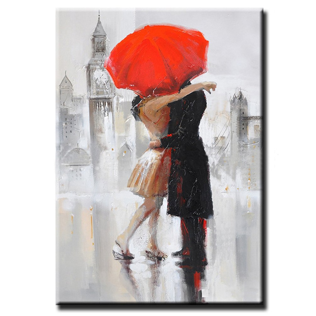 Hand Painted Rain Landscape Love Couple Hug Modern Oil Canvas Painting For Living Room Decor Large Size Wall Art No Framed 24''x36''