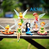 AKSH 6-Piece Tinker Bell Fairy Princess Action Figures Toy Set for Kids (Multicolor) (6 Fairy Dolls New)