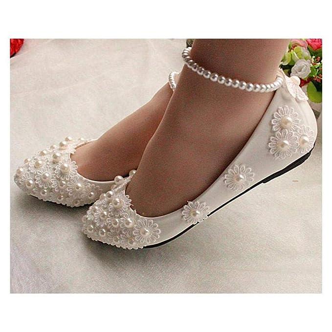 FidgetGear - Tapa para tobillo de novia de encaje blanco para zapatos de boda (talón bajo y alto), tallas 5-12