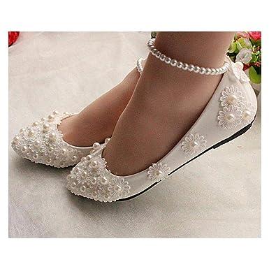 Fidgetgear White Lace Wedding Shoes Pearls Ankle Trap Bridal Flats