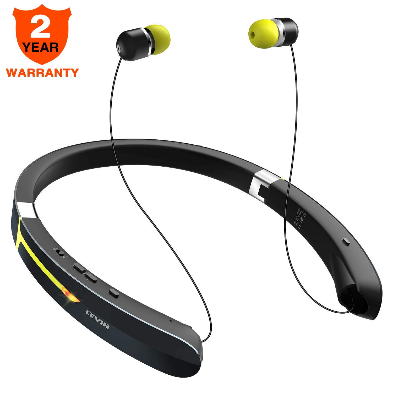 5b650285d2f Bluetooth Headphone Wireless Neckband Headset - Lightweight Sweatproof Sport  Earphones w/Mic Call Vibrate Alert, Retractable Earbuds for Android  Cellphone ...