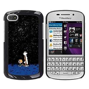 LASTONE PHONE CASE / Slim Protector Hard Shell Cover Case for BlackBerry Q10 / Awe Cartoon Cute Tiger Calvi Hobb