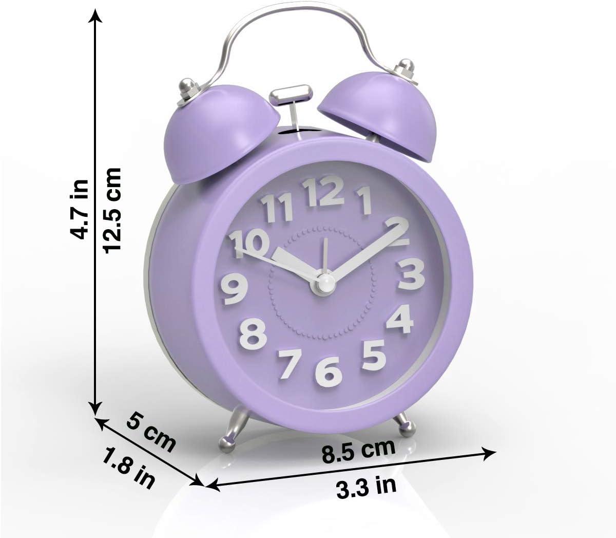 Manipulation de Batterie r/éveille-Matin Double Clochette Rond avec Le feu r/étro-/éclairage PiLife R/éveille-Matin du lit au Style classicisme Mini et Silencieux ; Trois Pouces Violet