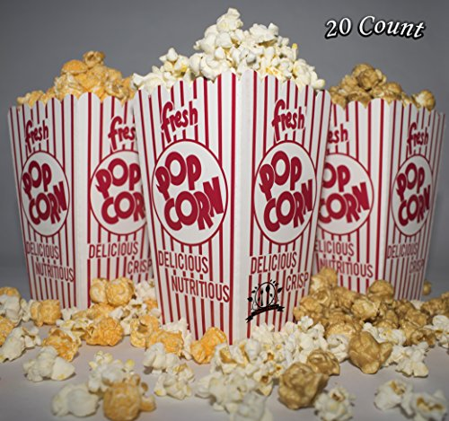 Diner's Choice Gourmet Concession Popcorn Boxes | Perfect for Family Movie Night, Theaters, Festivals, and Party Favors | Red and White Striped Containers (Personalized Microwave Popcorn)