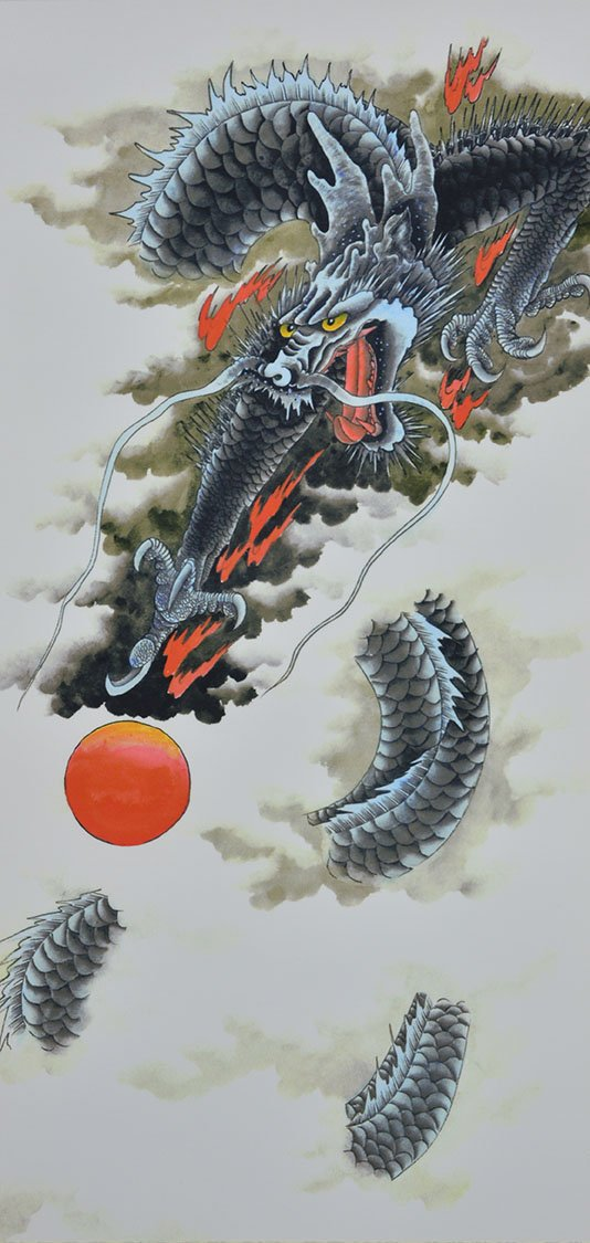 TOKYO-T Japanese Scroll Wall Art Kakejiku Wall Hanging Silk Poster Black Dragon