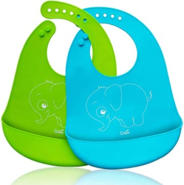 COS2BE WATERPROOF SILICONE UNISEX BIB-Resistant Soft Baby Bibs With Snaps Ultra-Soft Cute Funny Feeding Bibs For Baby or Toddlers! Comfortable & Keep Stains Off-Easily Wipes Clean2 Pack