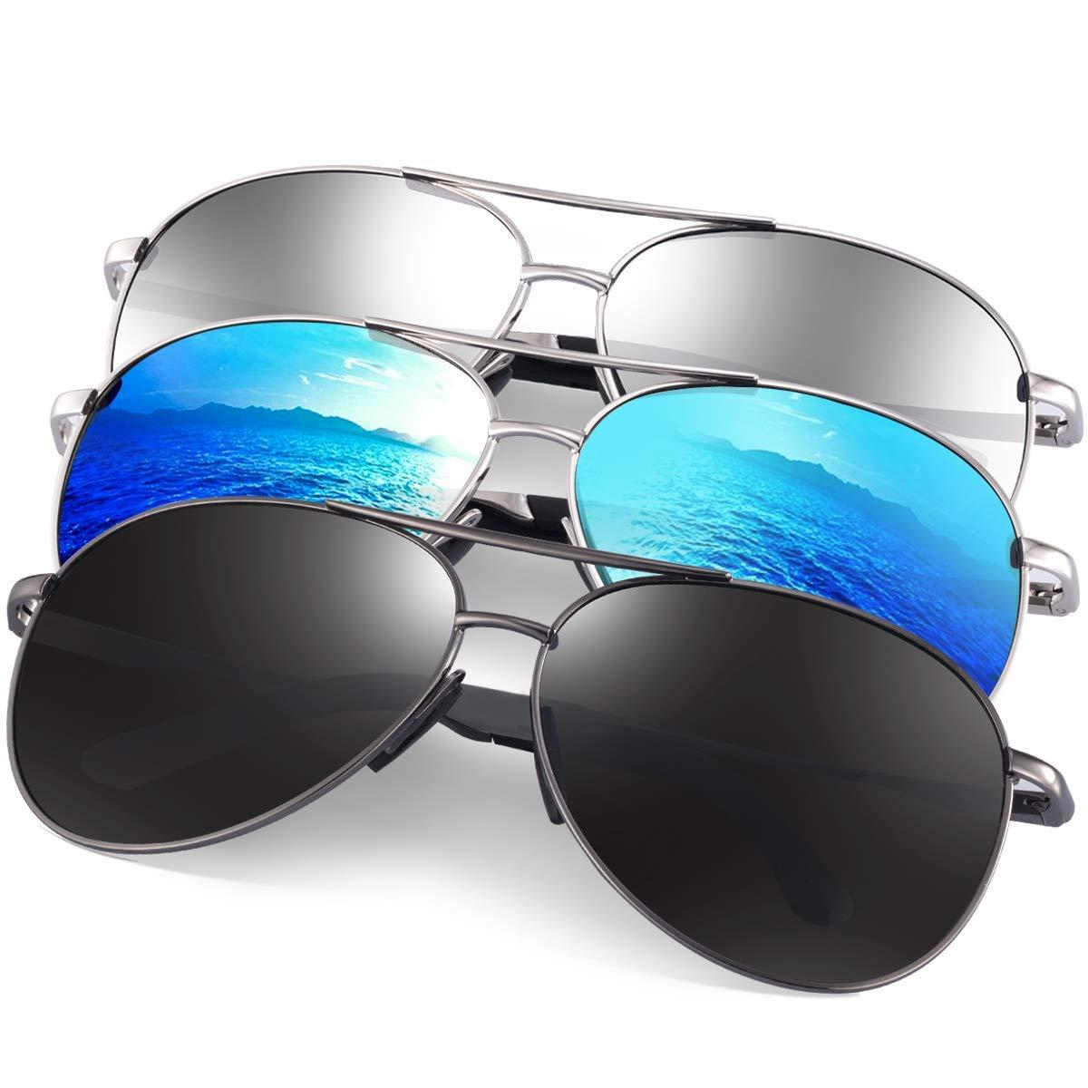 Polarized Aviator Sunglasses for Men - Feirdio Metal Frame Sports UV 400 Protection Mens Women Sunglasses 2261 (3pack(blue+black+silver), 2.36) by Feirdio