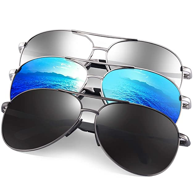 Polarized Aviator Sunglasses for Men - Feirdio Metal Frame Sports UV 400 Protection Mens Women Sunglasses 2261