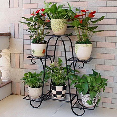 LIZX Iron-Art Flower Rack Indoor Balcony 3-Tier Anti – Rust Plant Stand ( Black / Bronze / White) ( Color : Black-1# )