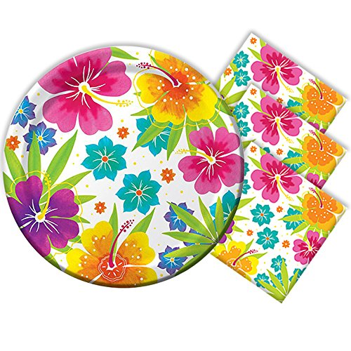 Tropical Luau Hawaiian Summer Party Supply Pack Essentials for 50 Includes Plates and - Plates Luau