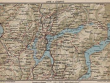 Amazon De Lake Of Lugano Vintage Map Plan Lago Di Lugano