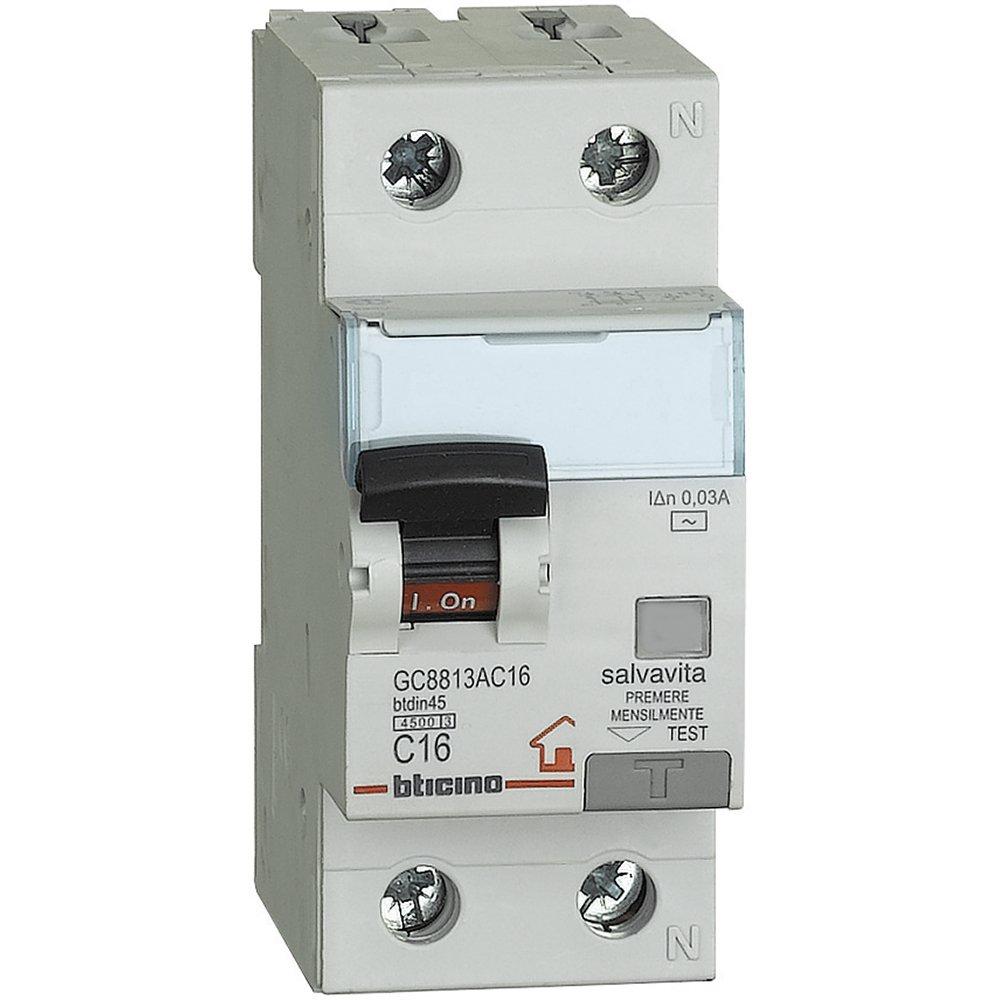 Bticino gc8813ac25 btdin Sauvegarde automatique ABB Disjoncteur ABB 1p N 4,5 kA, 1idn = 0,03 A, 25 A 5kA 03A 25A