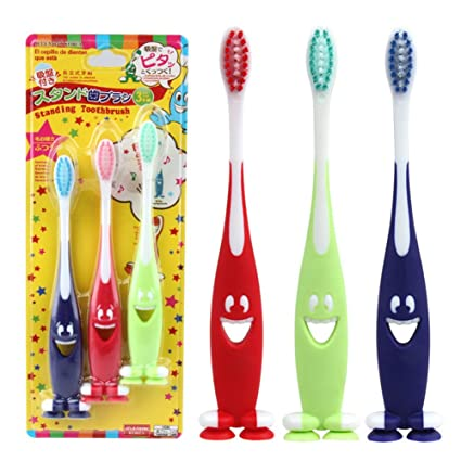 Zantec 3pcs / set Cepillo de dientes Smiley para niños Smiley Face niños niños Soft Toothbrush