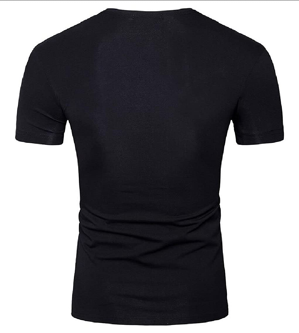 xiaohuoban Mens Summer Short Sleeve Floral Printed V Collar Casual T Shirt